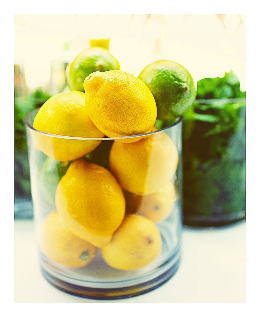 Lemon And Limes, Vintage, Cocktails, Yellow, Kitchen Wall