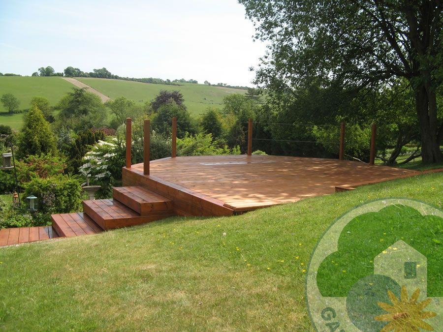 how to fit decking on a slope