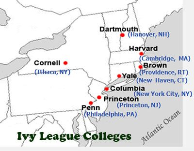 ivy league schools and location
