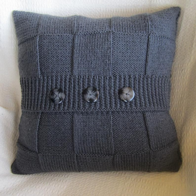 """PDF KNITTING PATTERNs, 2 x knit pattern pdf, cable knit pillow cover pattern, Simple Squares 20"""" x 20"""" pillow cover pattern"""