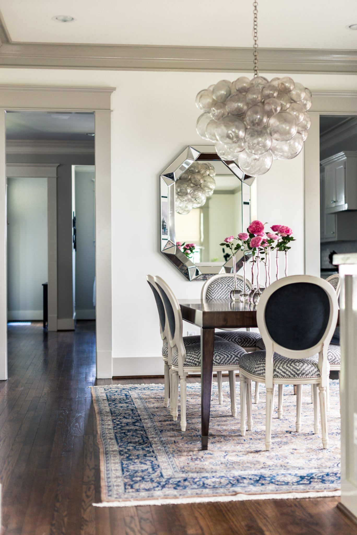 How Amazing Is That Bubble Chandelier We Love The Modern Touch To The Traditional Din Dining Room Chandelier Modern Traditional Chandelier Dining Room Remodel