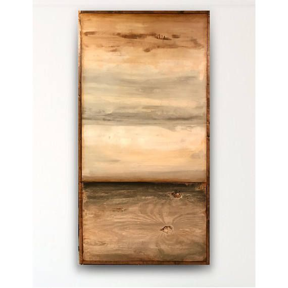 Reclaimed wood wall art,abstract painting, white grey abstract ...