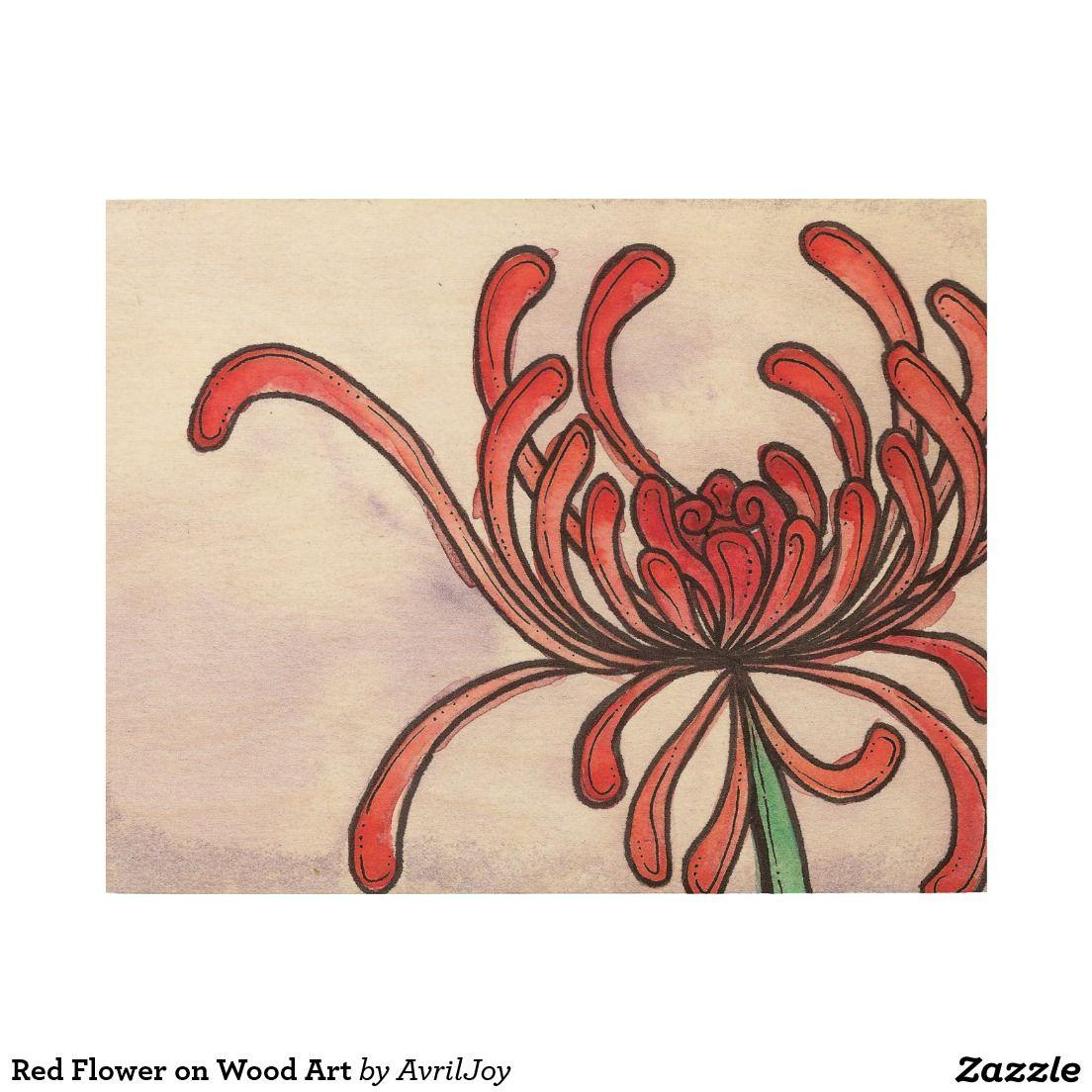 Red Flower on Wood Art