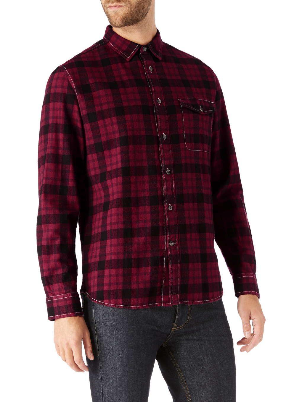 Zara flannel shirt mens  Burgundy u Black Check Shirt  Burton  December  Clothing
