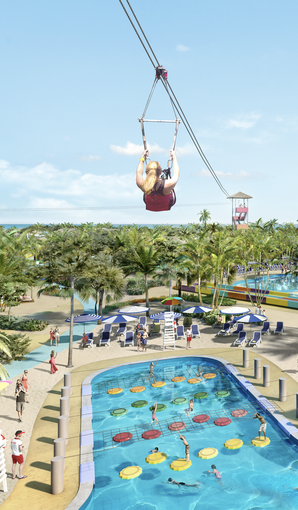 cococay bahamas 1 600 feet of zip line ends with a splash landing