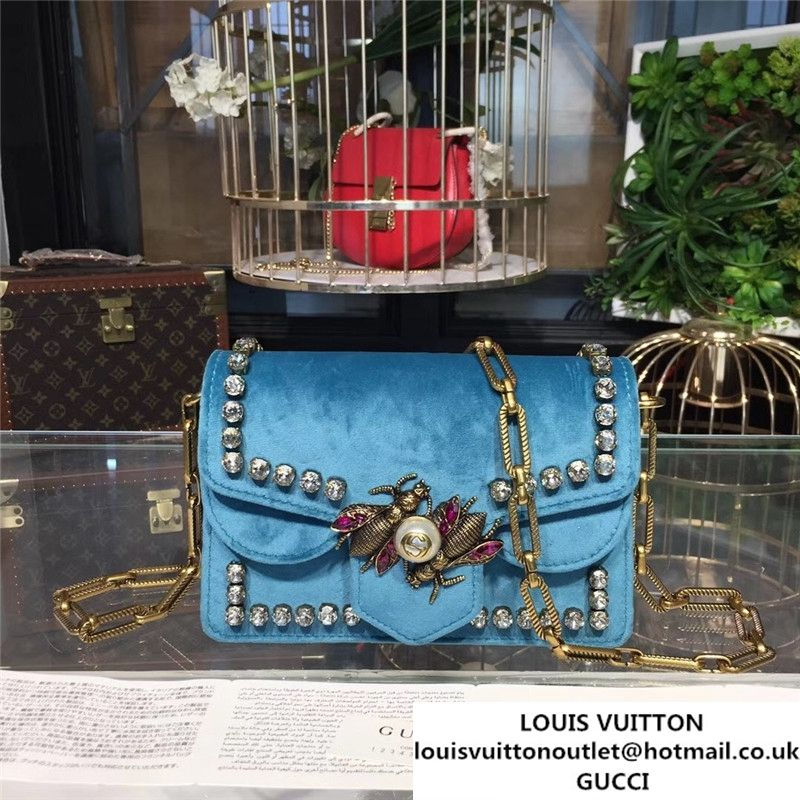 5158ec4498a7 Gucci Broadway Bee Velvet Shoulder Bag with Crystals 18cm 489218 Fall  Winter 2017 Collection Turquoise