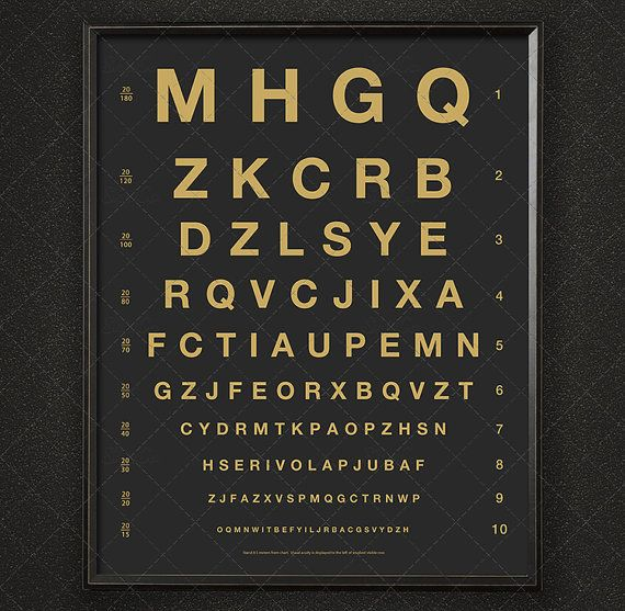 Herman Snellen Eye Chart with Letters / Vintage Opthalmology Test