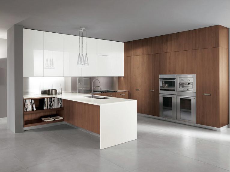 Walnut Kitchen Cabinets And Acrylic Upper Cabinets Italian Kitchen Design Modern Kitchen Furniture Modern Kitchen Design