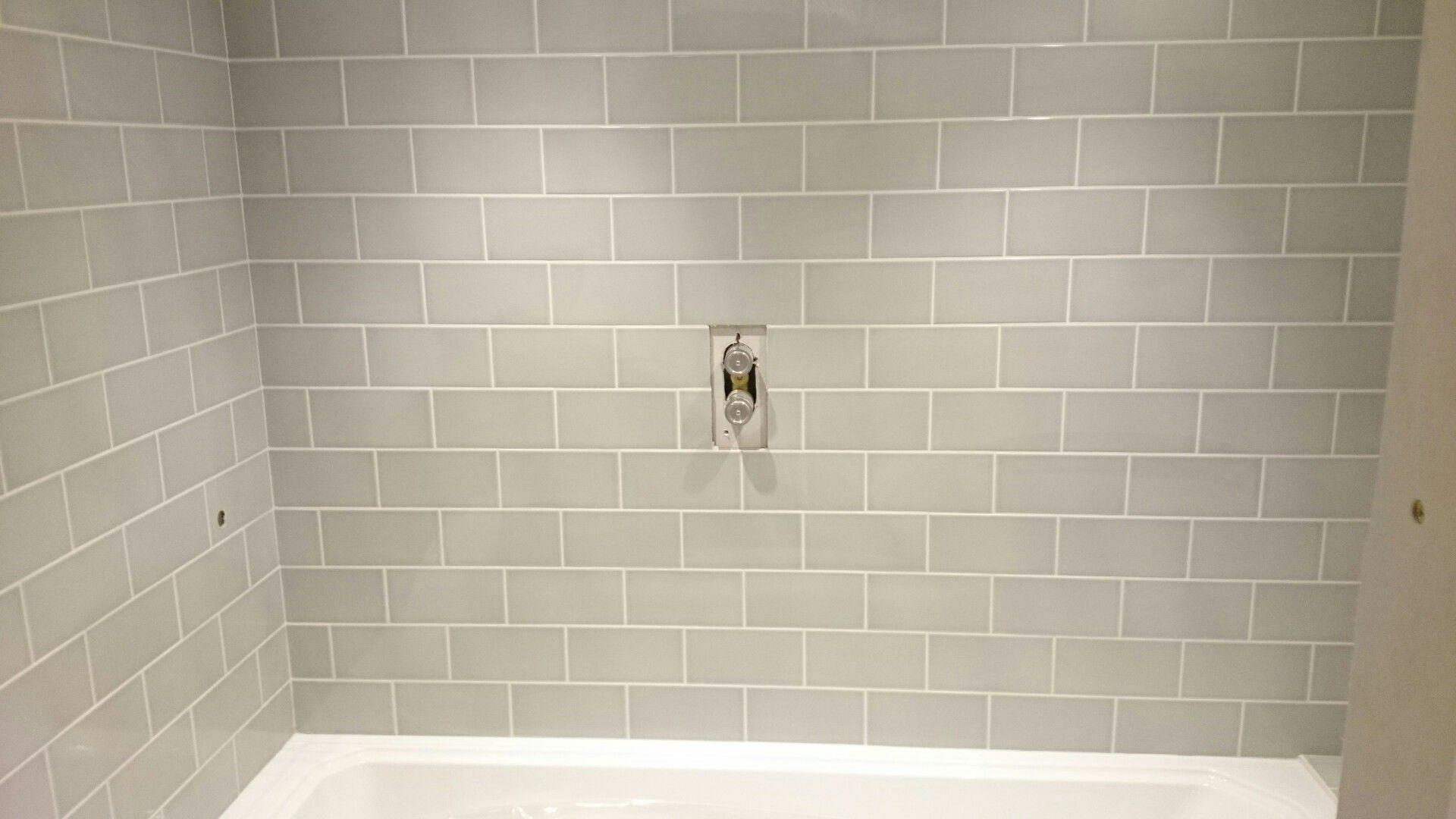 Our New Bathroom Topps Tiles Astrea Sage Crackle Metro With White Grout Bathroom Inspiration Bathroom Bathroom Renos