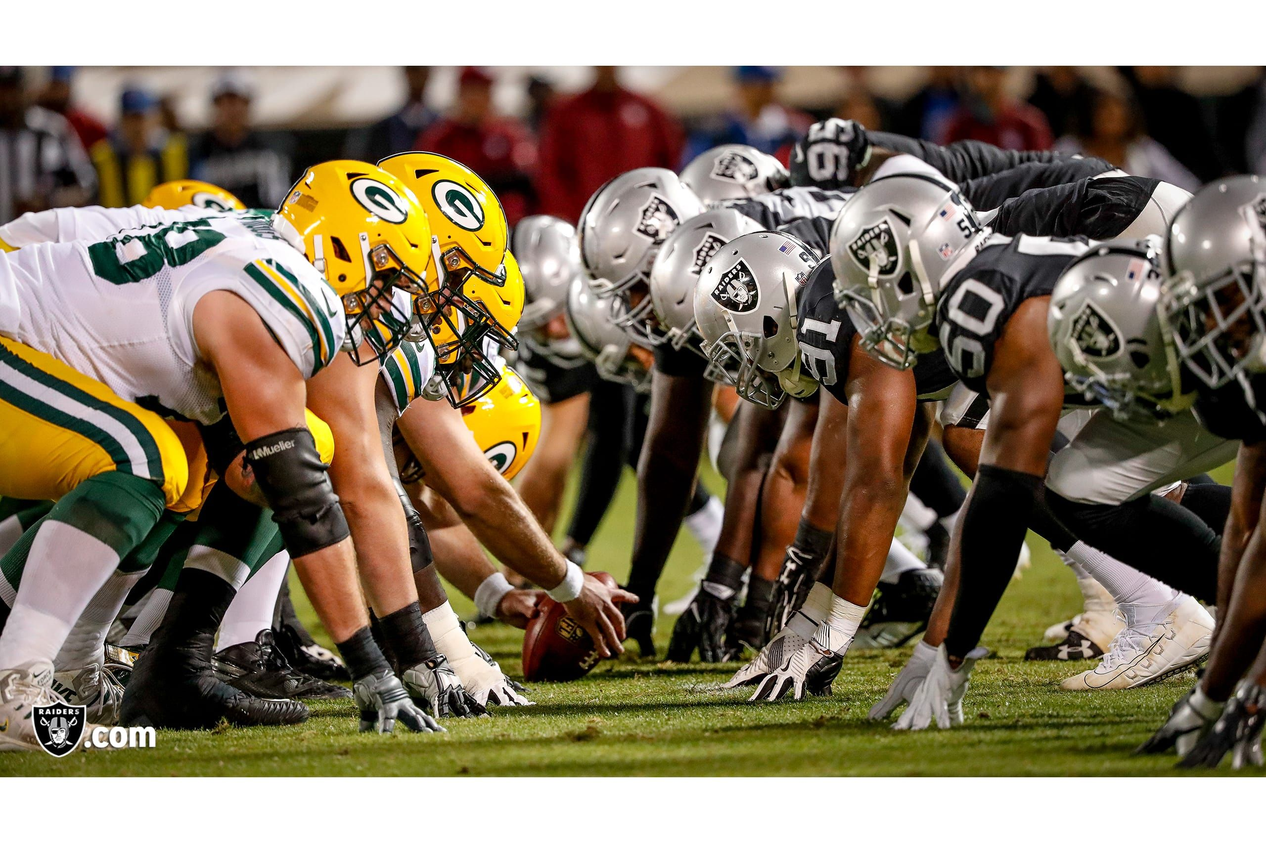 The Oakland Raiders Defensive Line During The Oakland Raiders Preseason Game Against The Green Bay Packers At Oakland Raiders Vs Raiders Vs Packers Raiders Win