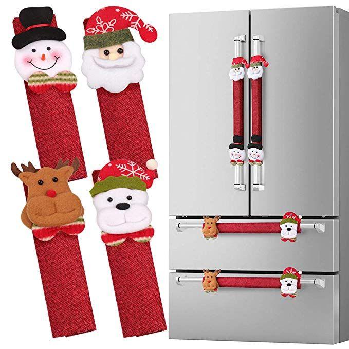 3Pc Refrigerator Handle Covers Fridge Door Snowman Kitchen Christmas Decorations