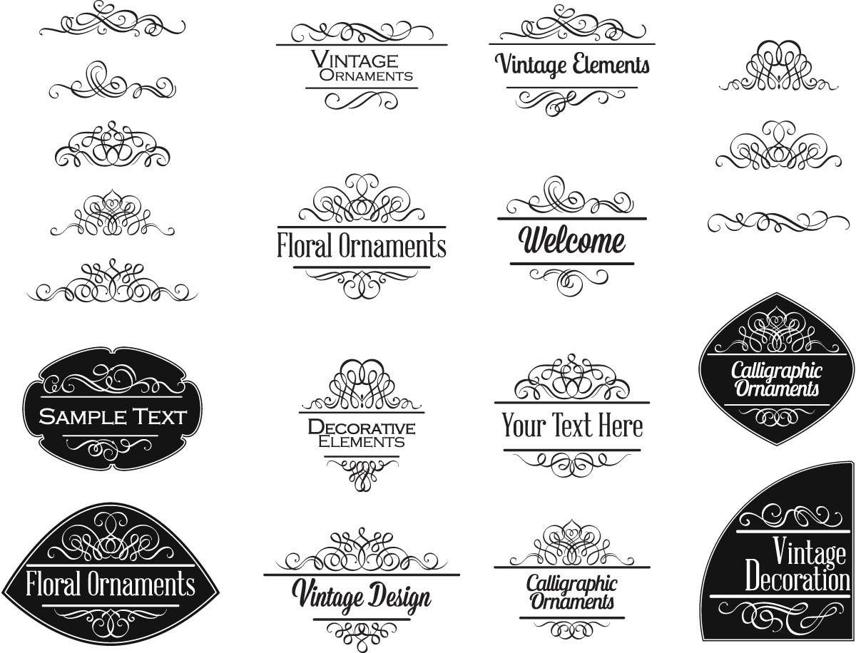 Vintage ornate decoration elements vintage invitations fonts decoration elements vintage invitations set vector junglespirit Images
