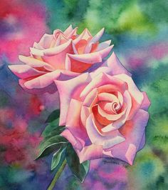 painting roses in watercolor tutorial with Barbara Fox