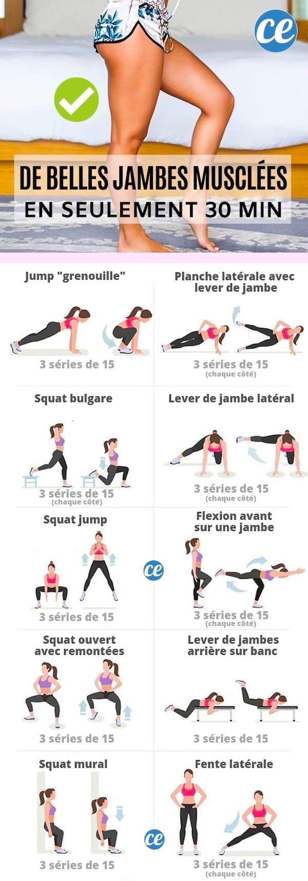 De Belles Jambes Fines Et Musclees En Seulement 30 Min Sans Equipement Muscler Les Jambes Exercice Jambes Exercices Jambes Fines
