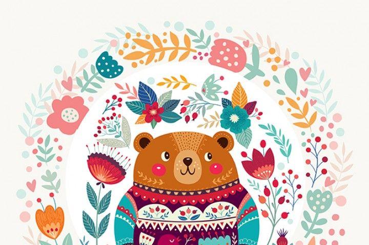 Spring Bear And Floral Bloom By Molesko Studio Scandinavian Folk Art Pattern Art Folk Art Painting