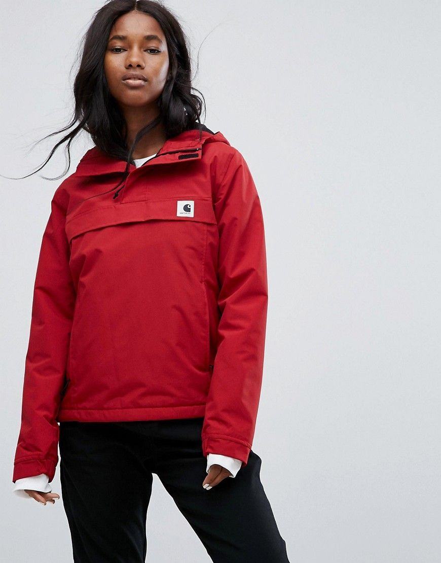 28e72f96da673 Carhartt WIP Pullover Jacket In Water Repellant Fabric With Hood - Red  #JacketsForWomenHooded