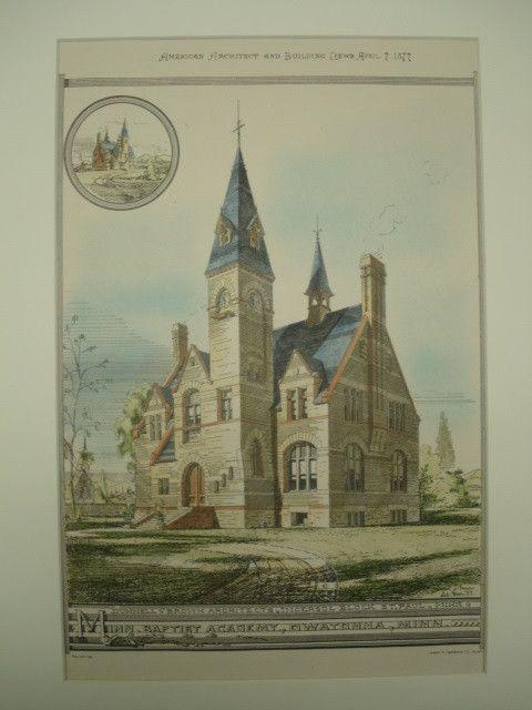 Minnesota Baptist Academy Owatonna Mn 1877 Dunnell Brown
