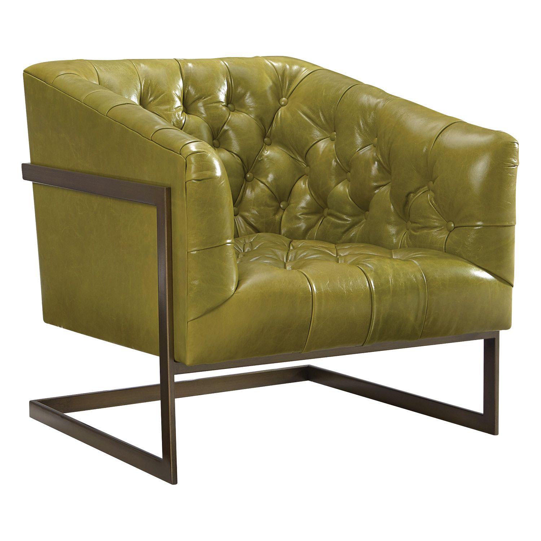Rush Leather Chair Zinc Door Green Avocado Tufted