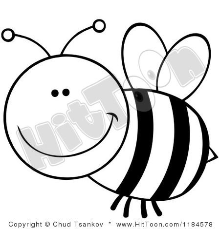 Bee Clipart Black And White 1184578 Cartoon Of A Black And White Clipart Black And White Bee Clipart Easy Drawings