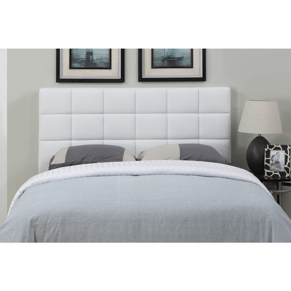 White leather full queen size square tufted headboard for Large headboard ideas