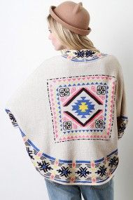 Tribal Textured Knit Poncho #urbanog