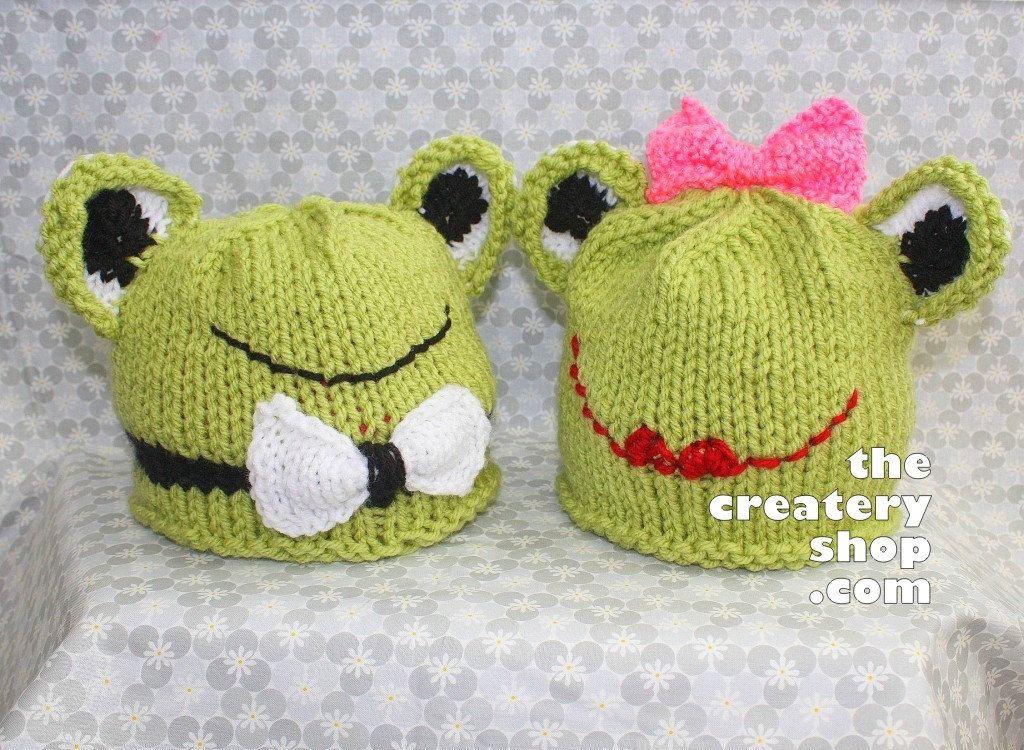 Knitting Pattern Kiss Me I\'m Froggish Hats (Girl and Boy Frog 2 Baby ...