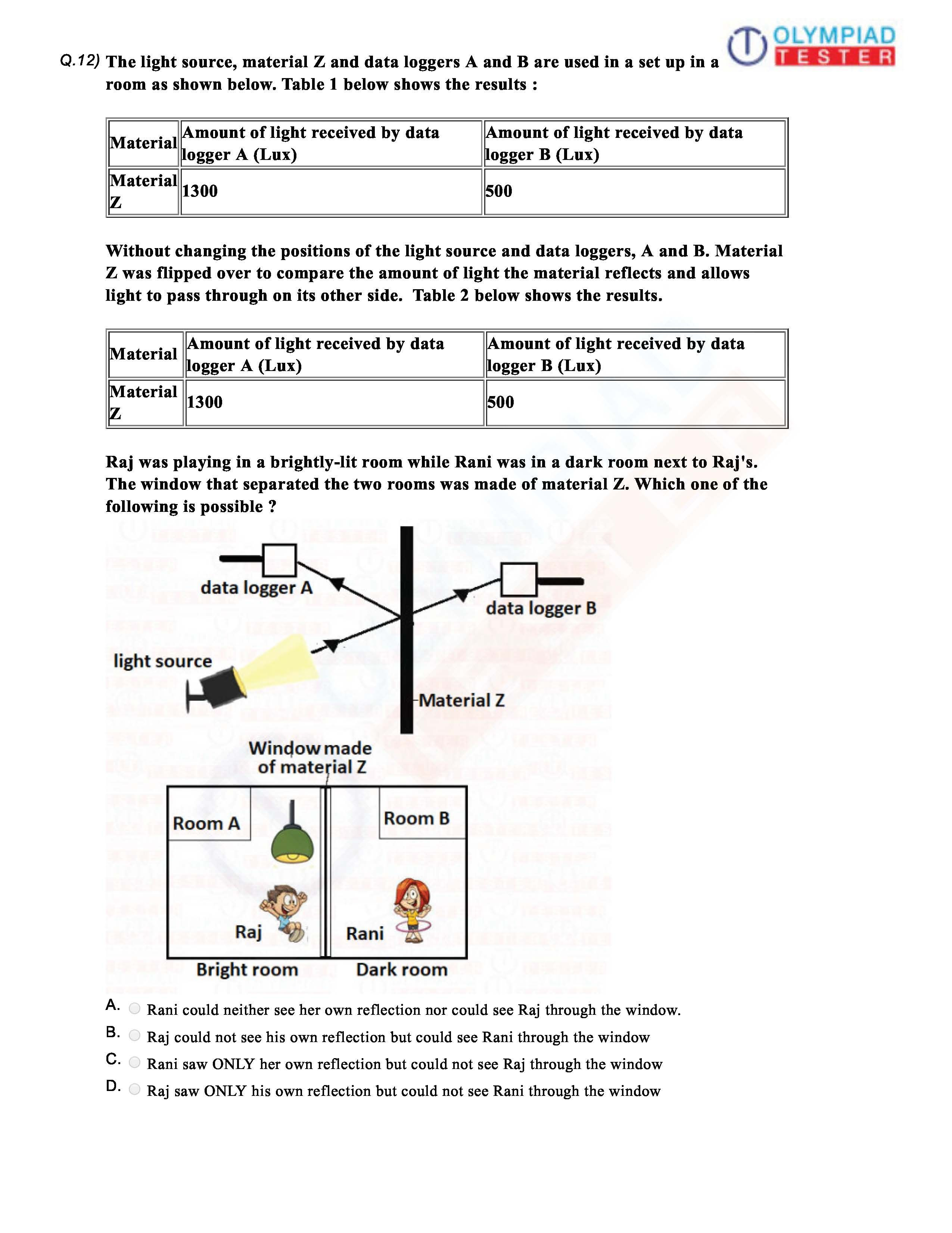 Cbse Class 6 Science Sample Paper On Light Worksheet 08 Sample