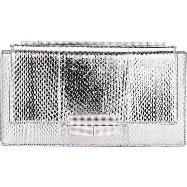J. Mendel Melodie Clutch (3.890 BRL) ❤ liked on Polyvore featuring bags, handbags, clutches, silver, leather clutches, white leather handbags, snake skin handbags, real leather handbags and snake skin purse