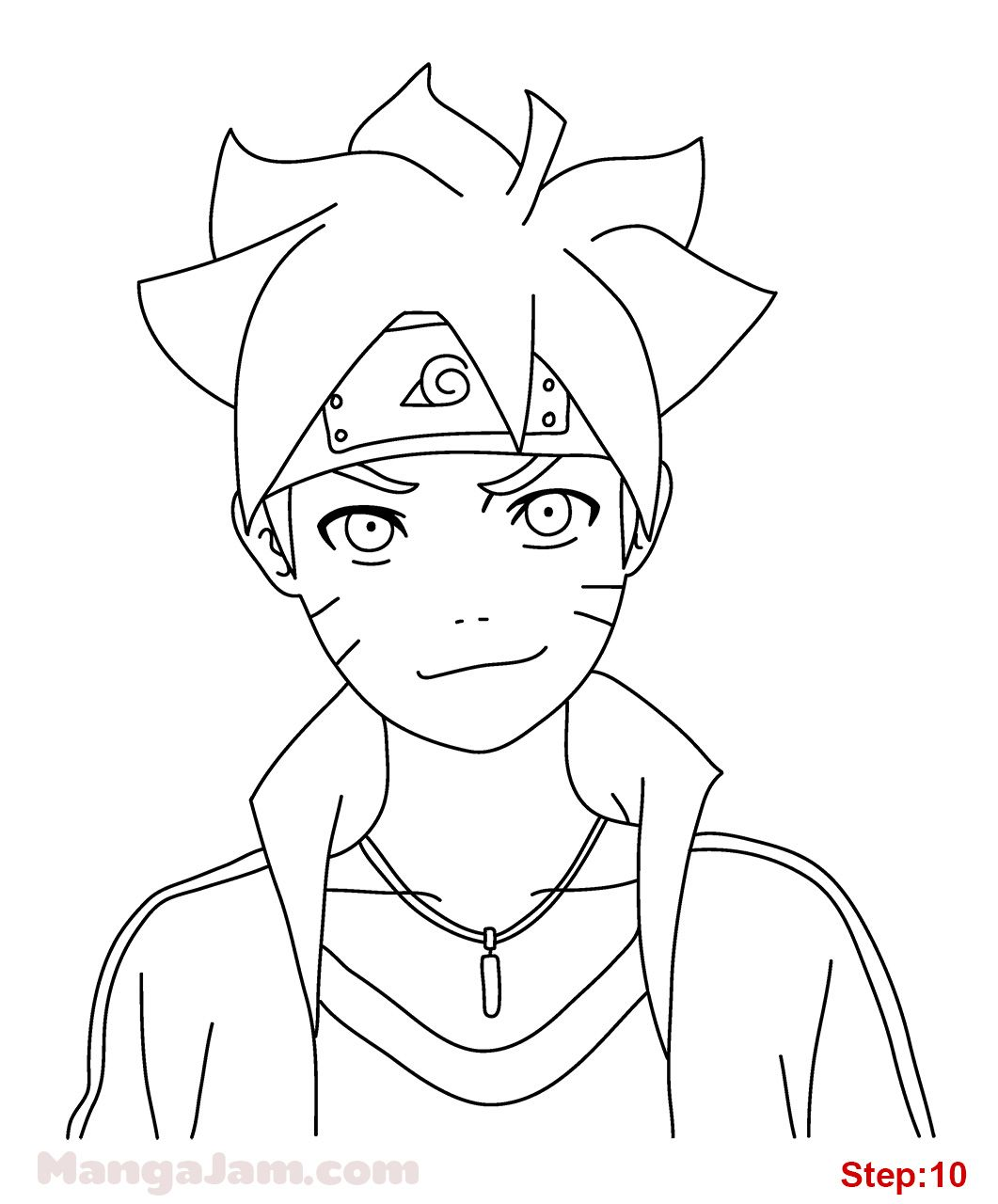 Lets learn how to draw boruto uzumaki from naruto today