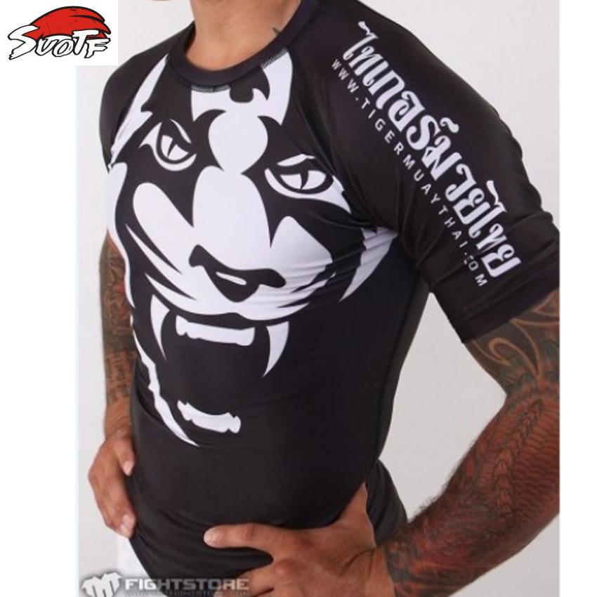 Tiger Muay Thai Boxing Shirt Mma Fight T Shirt Martial Art Sports Rash Guard