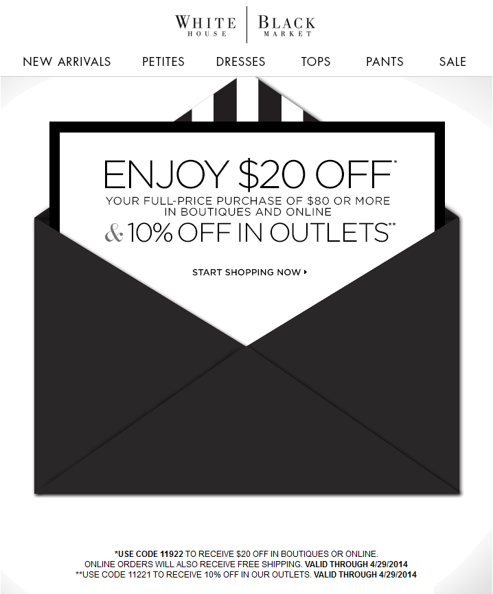 Pinned March 27th: $20 Off $80 At White #House Black Market, Or Online