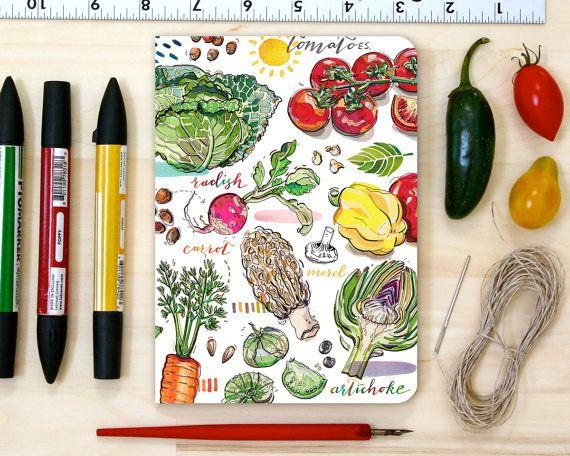 Garden notebook, personalized, vegetables, gift for gardener, journal, notepad, garden illustration.