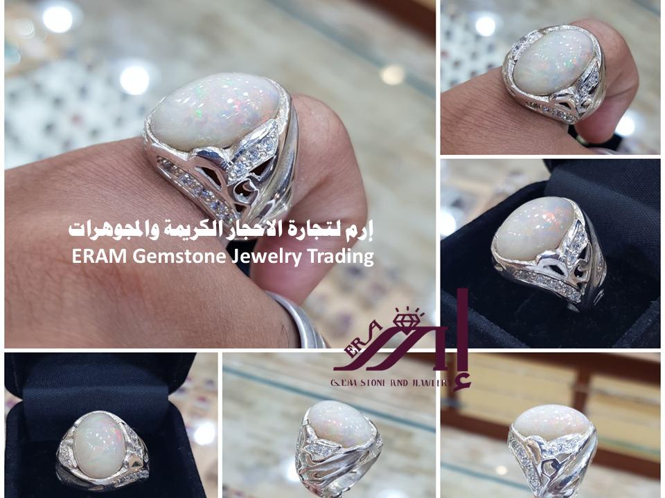 خاتم ملكي اوبال ابيض على رمادي طبيعي100 Opal للعرض Engagement Rings Rings Engagement