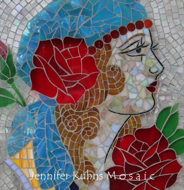 Gypsy Rose stained glass mosaic by Jennifer Kuhns