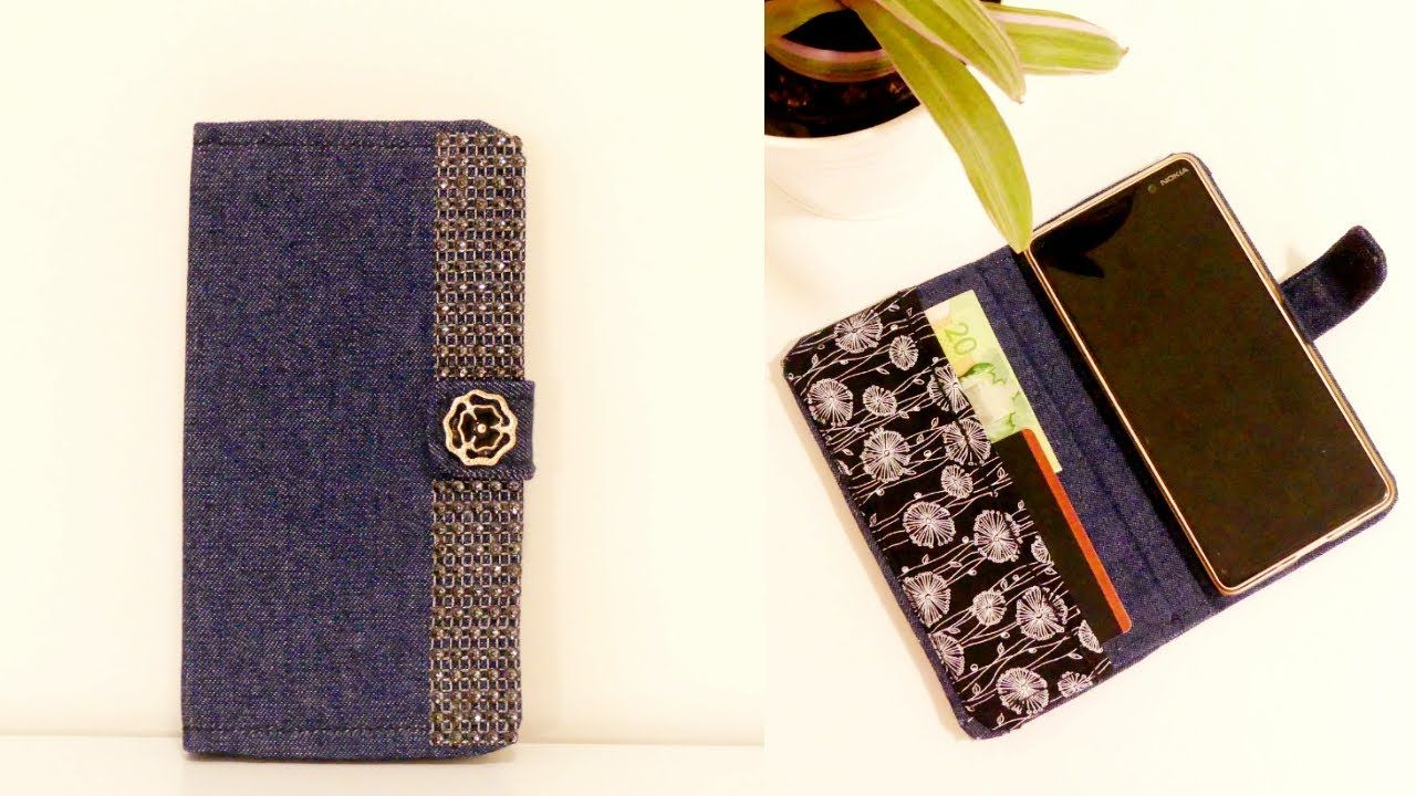 Diy Denim Flip Phone Case From Old Jeans With Card Holder Youtube Cell Phone Holder Diy Flip Phone Case Diy Phone Case