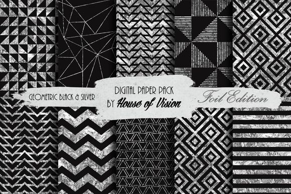 Geometric Black & Silver Paper Pack by House of Vision on Creative Market