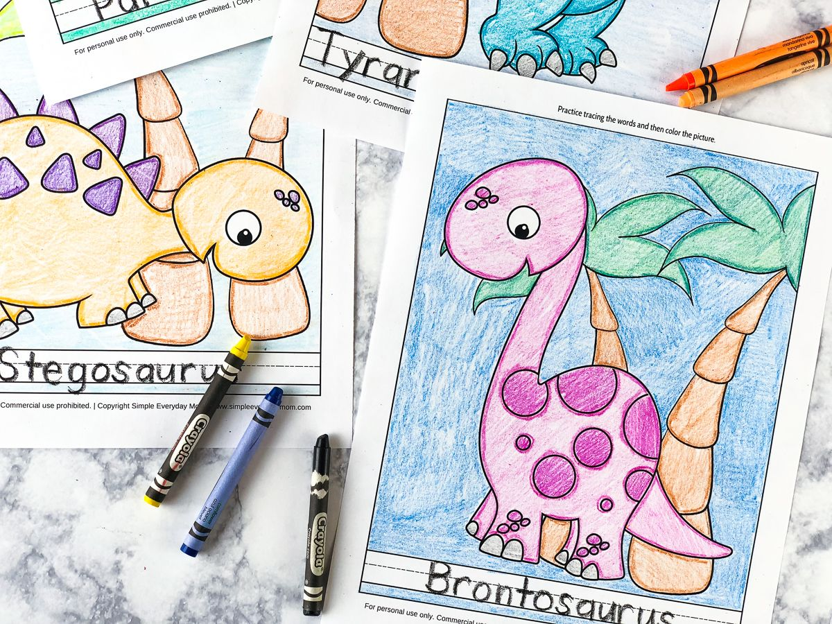 5 Free Printable Dinosaur Coloring Pages For Kindergarten