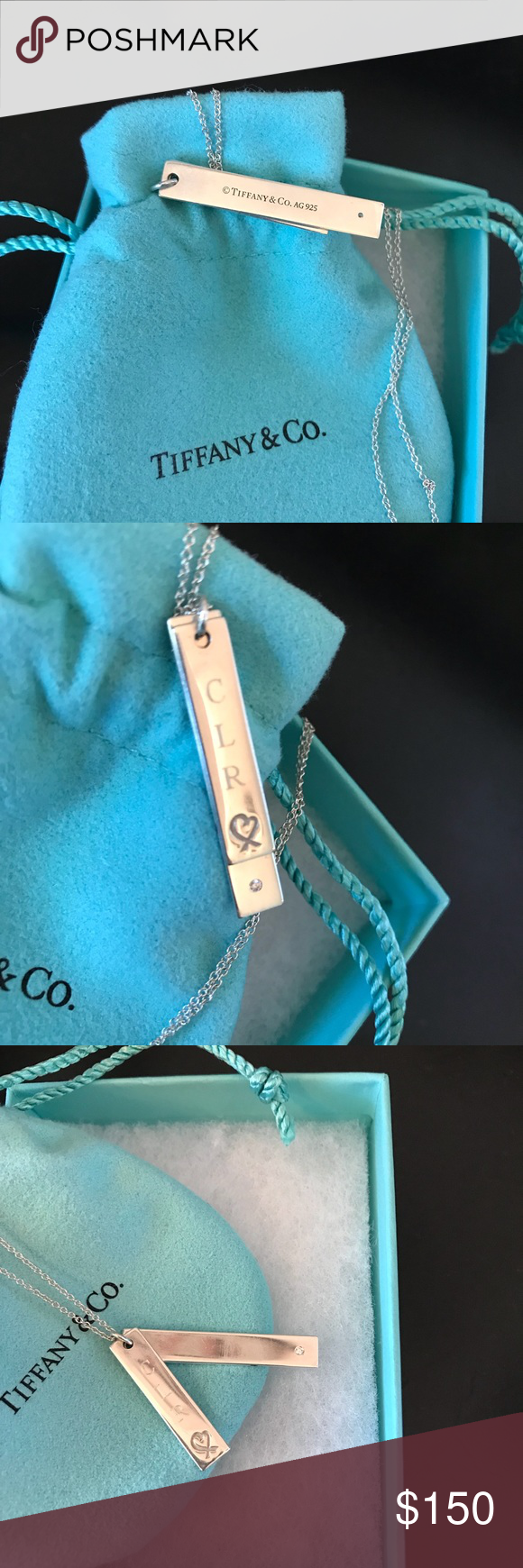 """0fc567459 Tiffany Necklace w/Engraved Bar Heart pendant Sterling silver and diamond  Tiffany and Co Paloma Picasso Loving Heart Double Bar Pendant with 16""""  chain."""