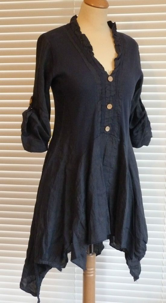 Fabulous lagenlook Italian linen button through quirky tunic style top  RSP £49 #MadeinItaly #OtherTops #Casual