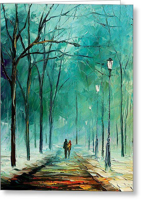841e8624a9a Winter - Palette Knife Oil Painting On Canvas By Leonid Afremov Greeting  Card by Leonid Afremov