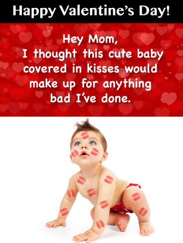 Tot With Kisses Funny Happy Valentine S Day Card For Mother Birthday Greeting Cards By Davia Happy Valentines Funny Happy Valentine Kiss Funny
