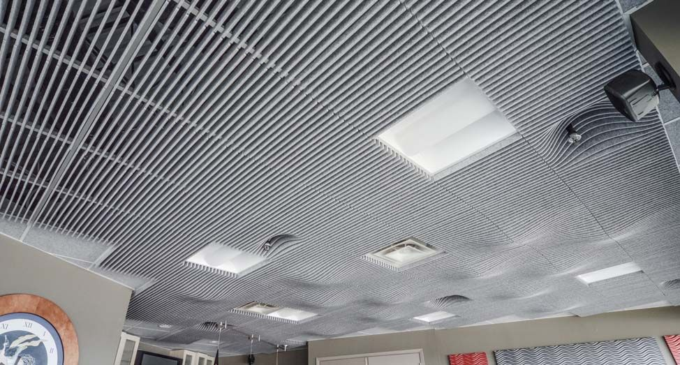 The Swell Ceiling System Is An Acoustic Drop Ceiling Tile Product Series That Transforms Office Interiors Throu Drop Ceiling Tiles Dropped Ceiling Ceiling Tile