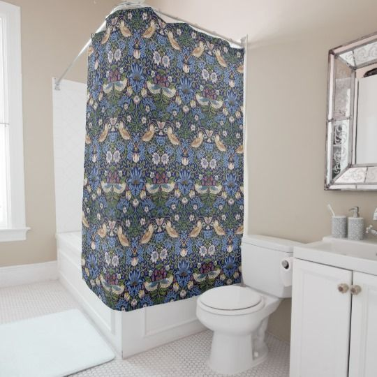 William Morris Strawberry Thief Shower Curtain William Morris