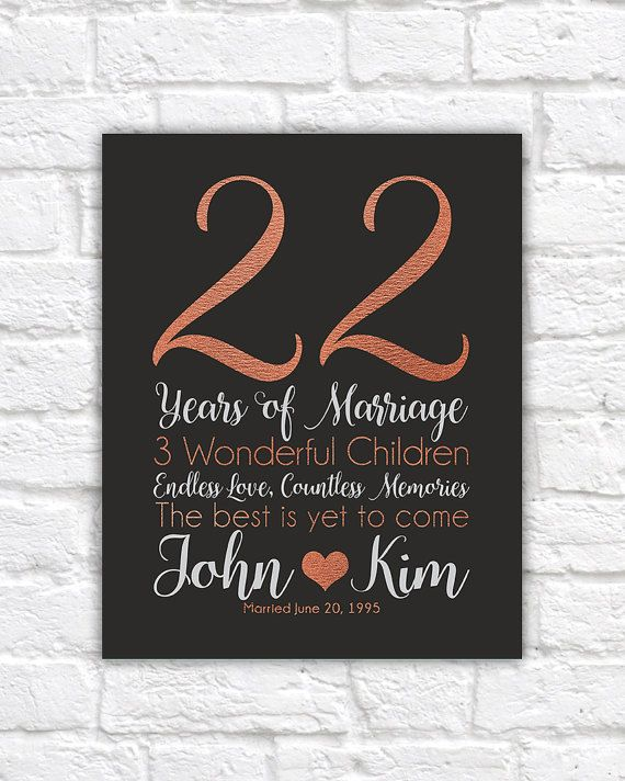 Personalized Anniversary Gifts 22 Years Copper Style Wife Wedding Dating 22nd Unique Wf533