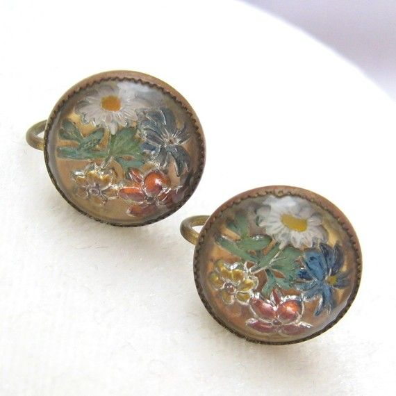 Vintage Brass Reverse Painted Glass Earrings by PurpleDaisyJewelry, $18.00