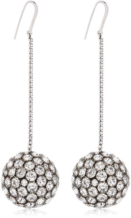 c5f916743e #Crystal Sphere Drop #Earrings. #Silver colored brass. Glass crystals. Hook  back.