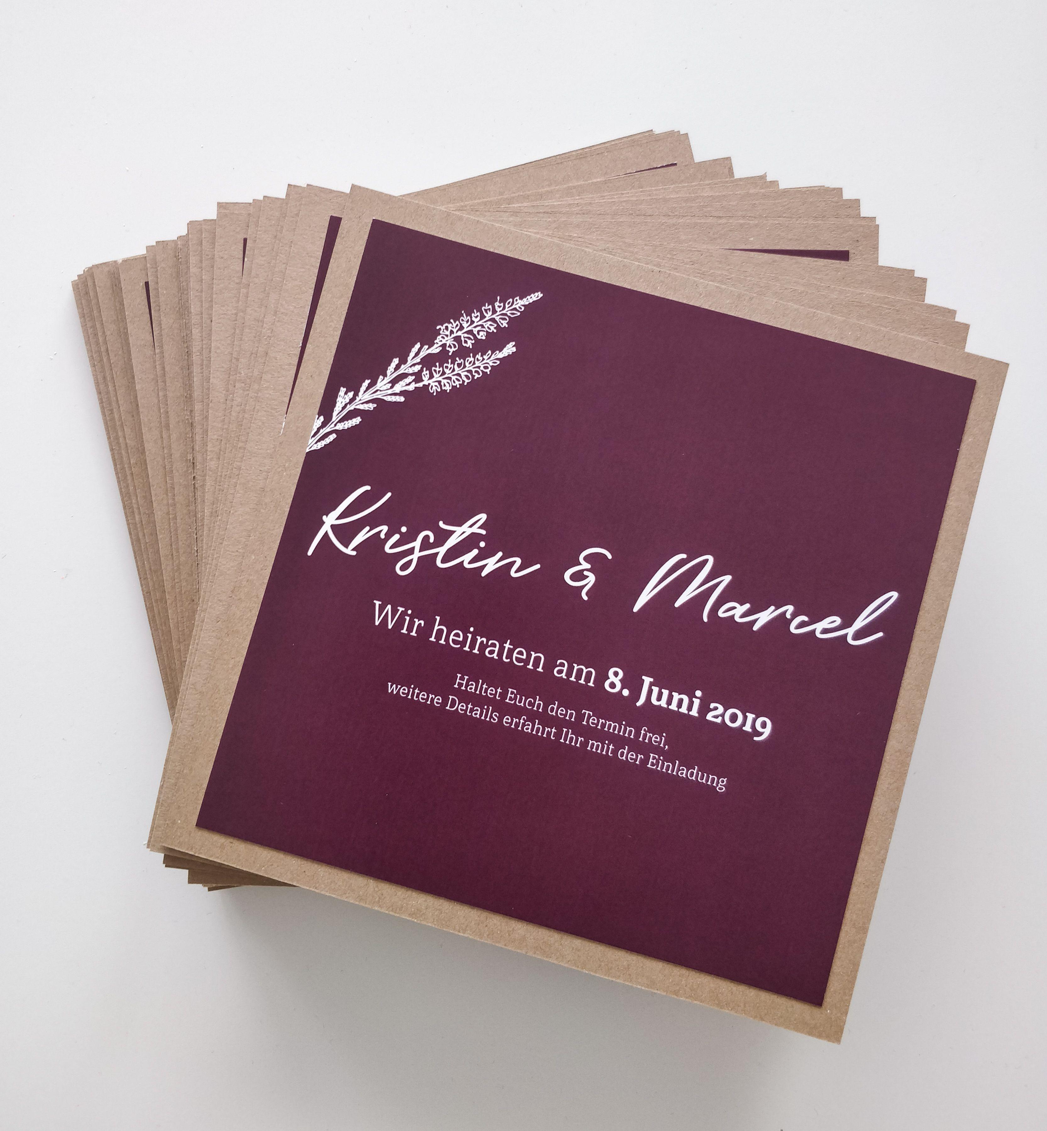 Save The Date Karte Zur Hochzeit Kraftkarton Beere Berry Quadratisch Handmade Einladung Details Einladungen Hochzeitseinladung Einladungskarten Hochzeit