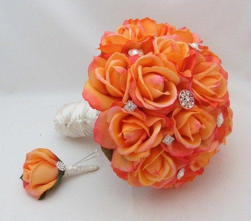 Orange Wedding Flower Bouquets