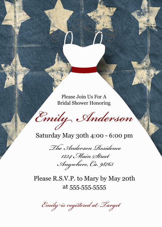 Items Similar To Patriotic Bridal Shower Invitation Personalized Invite On Etsy