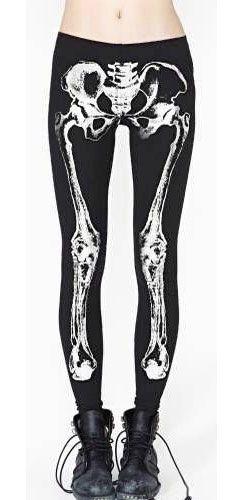 8238976aa8fa2 Black White Xray Skeleton Leggings Full Length Ankle Goth Pants Stretch
